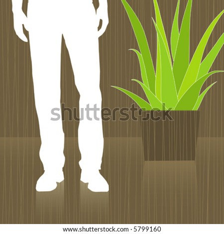 Man Waiting in Lobby abstract with reflection. Easy-edit layered vector file--No transparencies or strokes! - stock vector