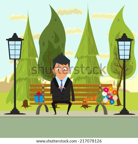 man waiting lover in the park on a bench and looking at his watch. girl is late for a date. vector illustration. - stock vector
