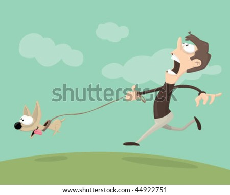 Man walking a dog. - stock vector