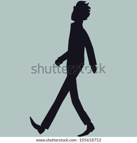 Man walking on street on grey vector background - stock vector