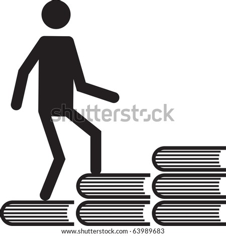 Man walking to the knowledge. - stock vector
