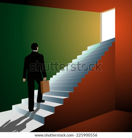 Man walking up the stairs to open doors. Vector illustration