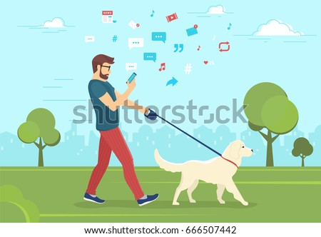 Man walking with dog outdoors in park and using smartphone to read news and messages in social networks. Flat vector illustration of people addiction to networks and publishing images for likes