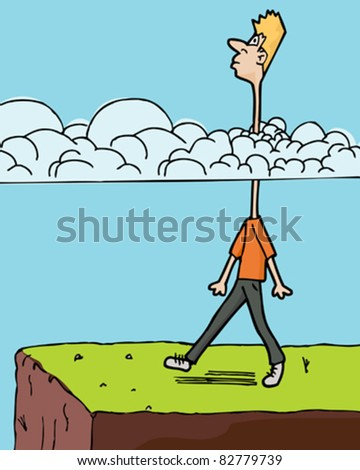 Man walks toward a ledge with long neck in clouds - stock vector