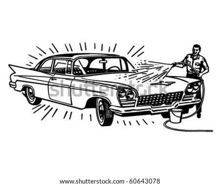 Man Washing Car - Retro Clip Art - stock vector
