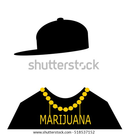 man wearing hip hop fashion with marijuana necklace