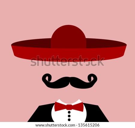 man wearing red sombrero - stock vector