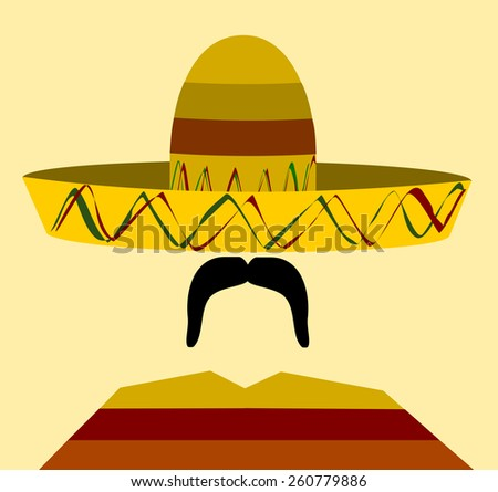 man wearing sombrero and poncho - stock vector