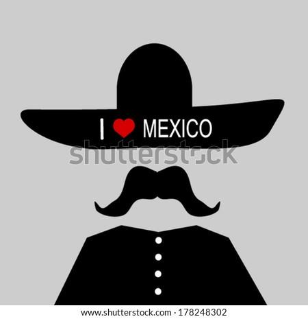man wearing sombrero with I love Mexico slogan - stock vector