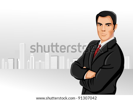 Man wearing suit with city on the background - stock vector