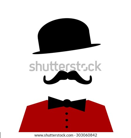 man wearing vintage bowler hat and bow tie - stock vector
