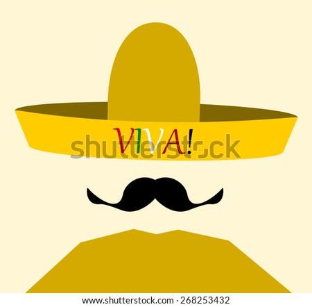 man wearing viva (live) sombrero - stock vector