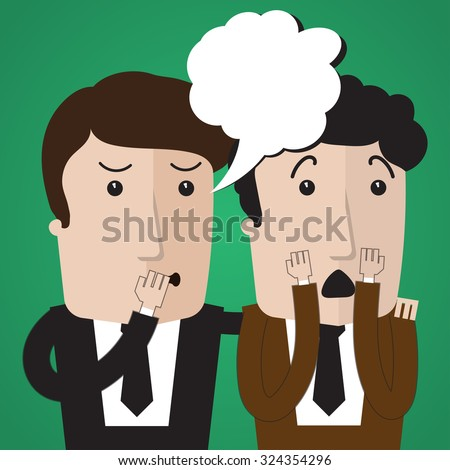 Man whispering to his surprise a friend gossip - stock vector