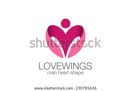 Man Wings as Heart shape Logo design vector template concept icon. in Love man logotype. Lingerie shop icon. - stock vector