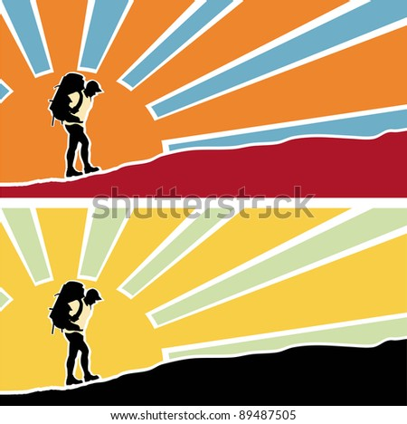 Man with a backpack going up the hill. Rising sun with rays  in the background. Vector. Separate layers - stock vector