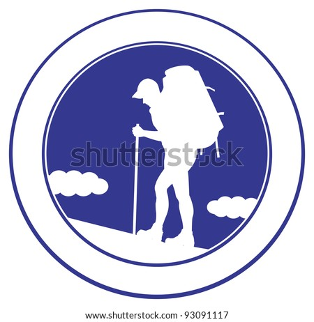 Man with a backpack going up the hill.  Tourist emblem. Vector illustration - stock vector