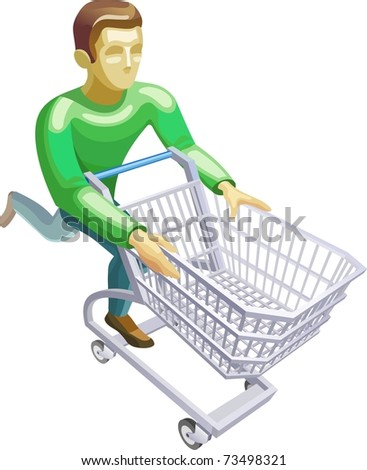 man with a basket - stock vector