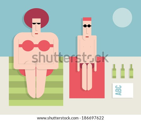 Man with a fat woman on the beach, flat style, vector cartoon illustration - stock vector