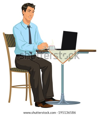 man with a laptop - stock vector