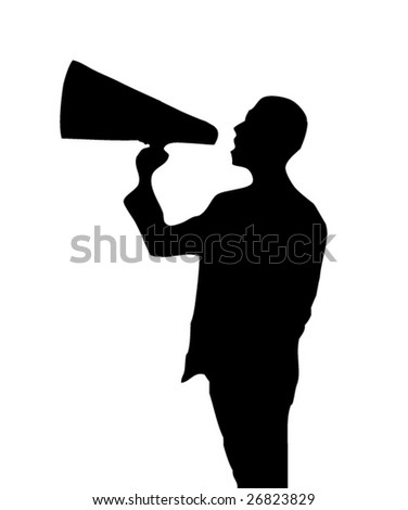 man with a loudspeaker - stock vector