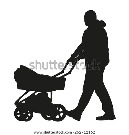 Man with a pram. Vector silhouette - stock vector