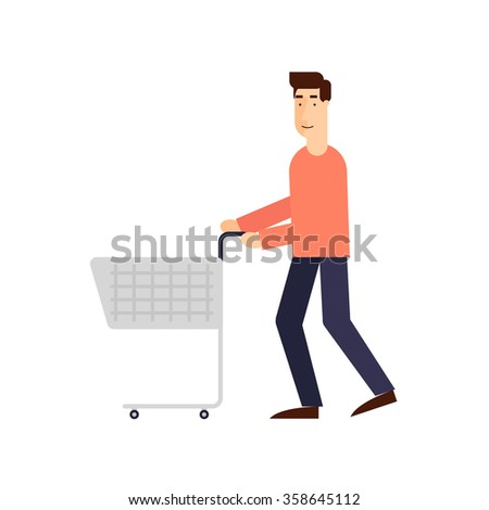 Man with a shopping cart on a white background. Flat design vector illustration. - stock vector