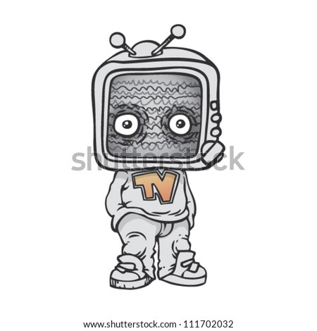 man with a TV for a head - stock vector