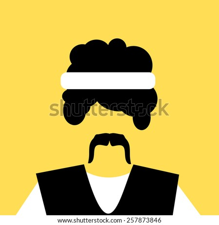 man with Afro hair and headband wearing vest  - stock vector