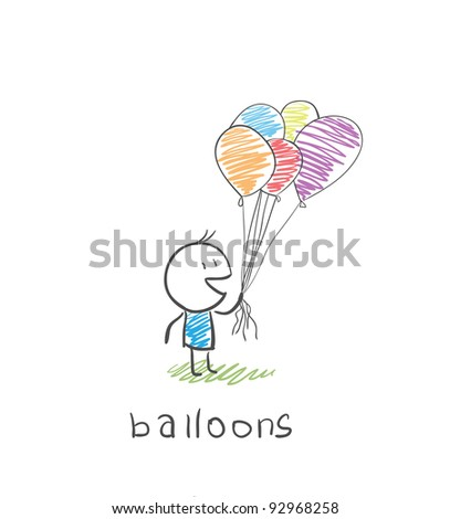man with balloons - stock vector