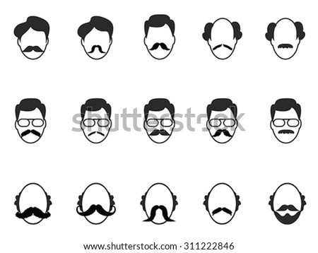 man with beard and mustache icons set - stock vector