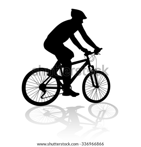 man with bicycle silhouette