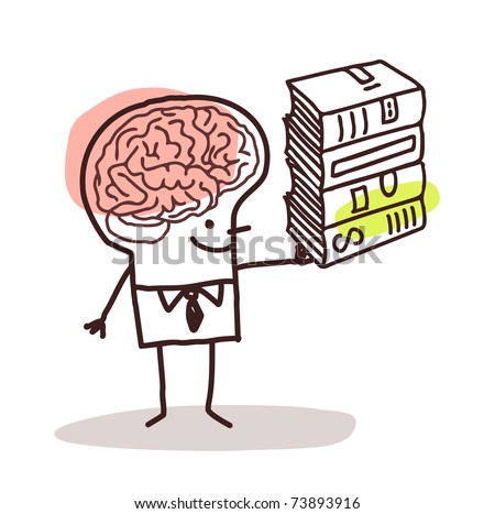 man with big brain and books - stock vector