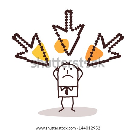 man with big pointing cursors on his head - stock vector