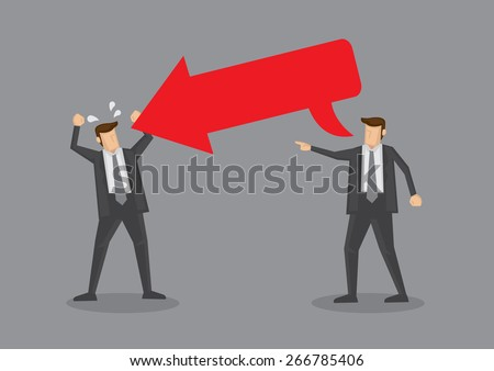 Man with big red arrow speech balloon with copy space directed at another man in angry gesture. Conceptual vector illustration for provocative or rude comments metaphor isolated on grey background. - stock vector