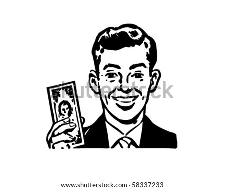 Man With Billion Dollar Bill - Retro Clip Art - stock vector