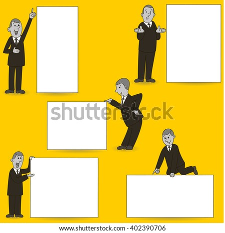 Man with blank banner, sign, poster. - stock vector