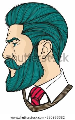 man with blue beard - stock vector
