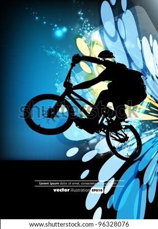 Man with BMX bike - stock vector