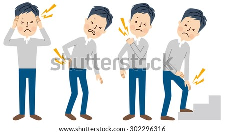 Man with body pain - stock vector