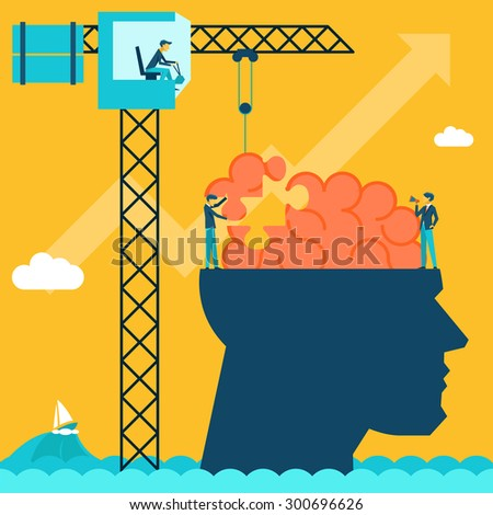 Man with brain puzzle. Creative concept background. Puzzle and create build, crane and head, businessman and conceptual, imagination. Vector illustration - stock vector