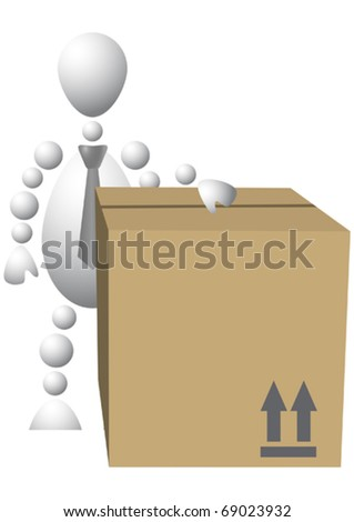 Man with brown cardboard box. Abstract 3d-human series from balls. - stock vector