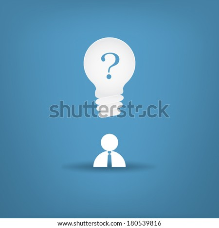 Man with bulb with question mark over his head, symbol of ideas, creativity, etc. Eps10 vector illustration