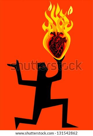 Man with burning heart - stock vector