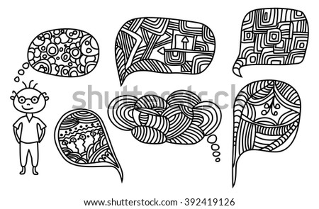 Man with complicated cartoon whimsical hand-drawn doodle thought bubbles  - stock vector