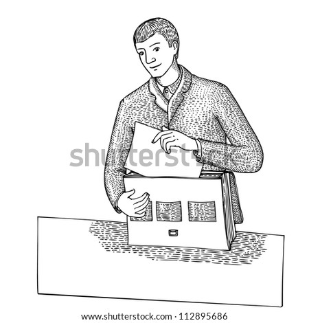Man with document and bag - stock vector