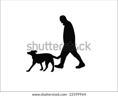 man with dog - stock vector