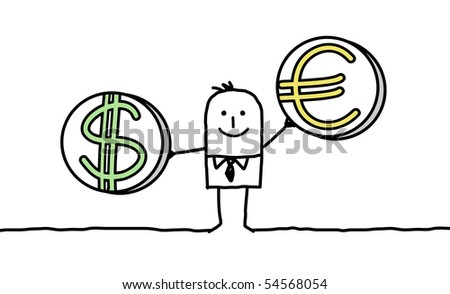 man with dollar & euro - stock vector