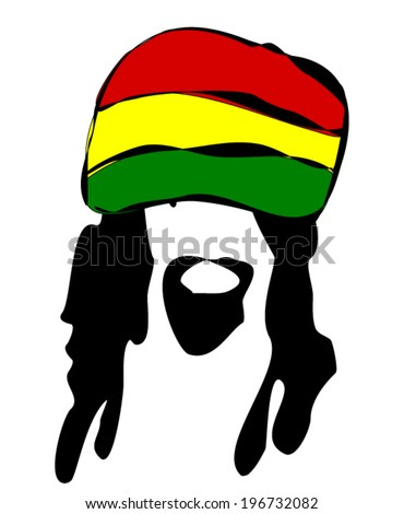 man with dreadlocks wearing reggae hat - stock vector