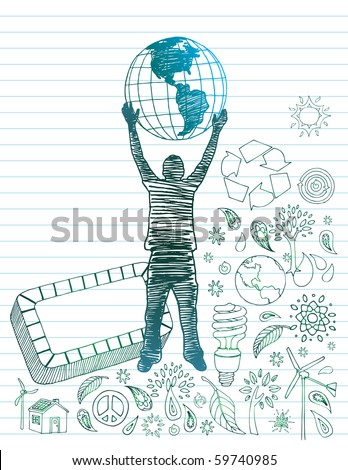 Man with earth surrounded by eco-friendly doodles with room for text. - stock vector