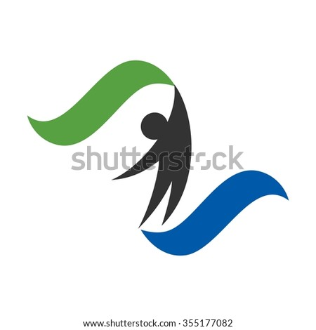 man with flag or ribbon logo vector. - stock vector